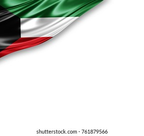 Kuwait flag of silk with copyspace for your text or images and white background -3D illustration