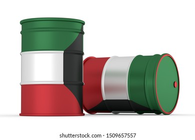 kuwait oil barrels isolated on white background. 3d render