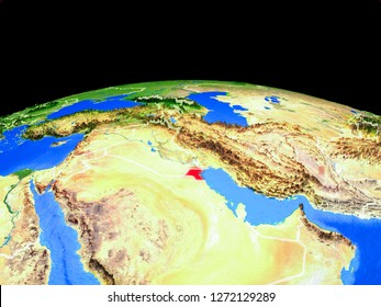 Kuwait on model of planet Earth with country borders and very detailed planet surface. 3D illustration. Elements of this image furnished by NASA.