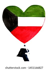 Kuwait watercolor hand drawn.Kuwait flag with a map in heart shape on white background.