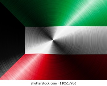 The Kuwaiti flag painted on brushed metall