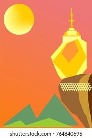 In Kwan Pagoda or kyaiktiyo exotic leisure one of the three sacred pagodas in Myanmar EEC country zone