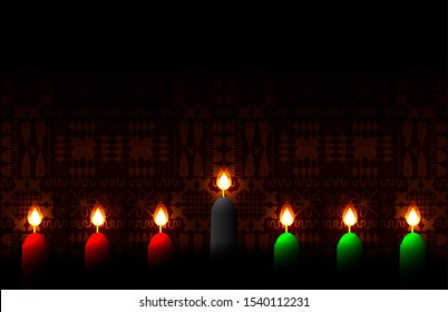 Kwanzaa. Concept of an African American festival in the United States. Kinara, ethnic patterns on the background