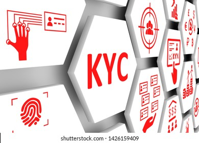 KYC concept cell background 3d illustration