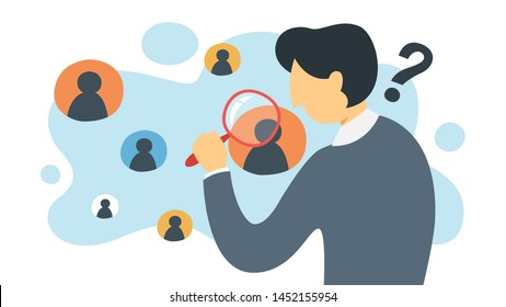 KYC or know your customer concept. Idea of business identification and finance safety. Man with magnifyng glass. Cyber crime. Isolated flat illustration