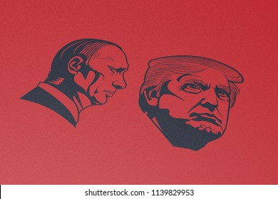 KYIV, UKRAINE, JULY 22, 2018, President Donald Trump, Vladimir Putin, Black, Monochrome, Symbol, Red, Illustrative Editorial