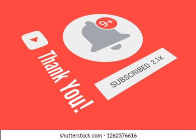 KYIV, UKRAINE - NOVEMBER 19, 2018 YouTube, 2000 Two Thousand Subscribers, Thank You, Bell Icon, Red Background, Concept Image, 3D Illustration, Illustrative Editorial