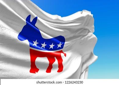 KYIV, UKRAINE - NOVEMBER 9, 2018 Democratic Party Flag Waving, Donkey Logo, United States of America, 3D Illustration, Illustrative Editorial