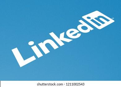 KYIV, UKRAINE - OCTOBER 20, 2018 Logo of LinkedIn, Concept Image for Online Content Sharing, Perspective View, Presentation Cover Background, Illustrative Editorial, 3D Illustration
