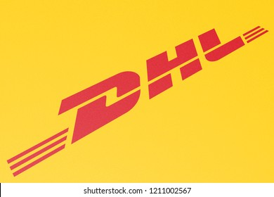 KYIV, UKRAINE - OCTOBER 20, 2018 Logo of DHL, Concept Image for Online Content Sharing, Perspective View, Presentation Cover Background, 3D Illustration, Illustrative Editorial