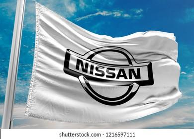 KYIV, UKRAINE - OCTOBER 30, 2018 Black Nissan Car Brand Logo, Wh