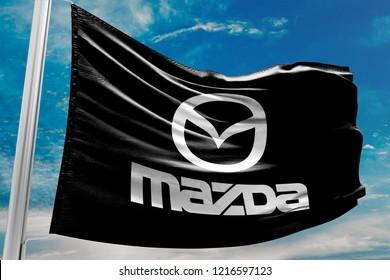 KYIV, UKRAINE - OCTOBER 30, 2018 White Mazda Car Brand Logo, Bla
