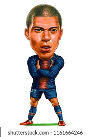 Kylian Mbappe is a French professional footballer who plays as a forward for Ligue 1 club Paris Saint Germain and the France national team. Illustration,Caricature,Design,August,22,2018