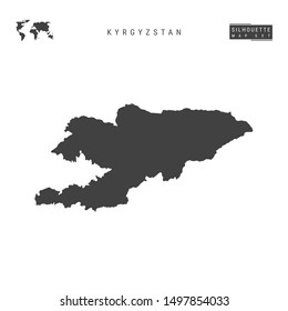 Kyrgyzstan Blank Map Isolated on White Background. High-Detailed Black Silhouette Map of Kyrgyzstan.