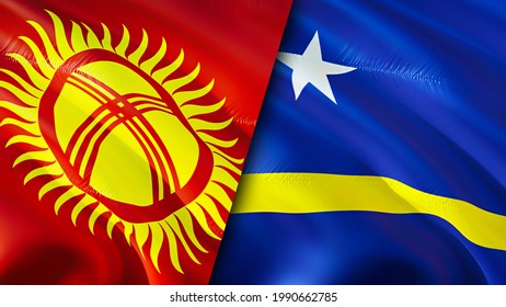 Kyrgyzstan and Curacao flags. 3D Waving flag design. Kyrgyzstan Curacao flag, picture, wallpaper. Kyrgyzstan vs Curacao image,3D rendering. Kyrgyzstan Curacao relations alliance and