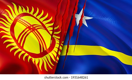 Kyrgyzstan and Curacao flags with scar concept. Waving flag,3D rendering. Kyrgyzstan and Curacao conflict concept. Kyrgyzstan Curacao relations concept. flag of Kyrgyzstan and Curacao crisis,war,