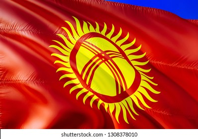 Kyrgyzstan flag. 3D Waving flag design. The national symbol of Kyrgyzstan, 3D rendering. National colors and National CIS flag of Kyrgyzstan for a background. South Caucasus sign on smooth silk