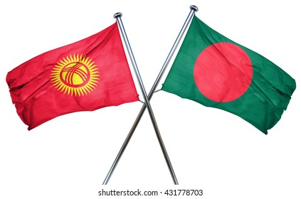 Kyrgyzstan flag with Bangladesh flag, 3D rendering