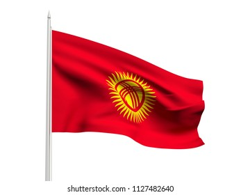 Kyrgyzstan flag floating in the wind with a White sky background. 3D illustration.