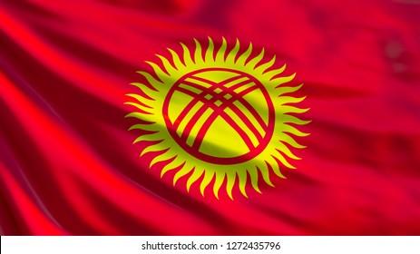 Kyrgyzstan flag. Waving flag of Kyrgyzstan 3d illustration. Bishkek