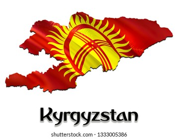 Kyrgyzstan Map Flag. 3D rendering Kyrgyzstan map and flag on Asia map. The national symbol of Kyrgyzstan.  Bishkek flag on Asia background. National Kyrgyzstan waving flag colorful
