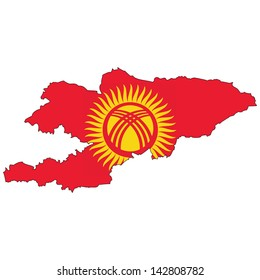 Kyrgyzstan map with the flag inside.