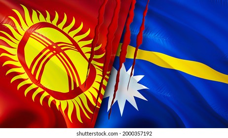 Kyrgyzstan and Nauru flags with scar concept. Waving flag,3D rendering. Kyrgyzstan and Nauru conflict concept. Kyrgyzstan Nauru relations concept. flag of Kyrgyzstan and Nauru crisis,war, attack