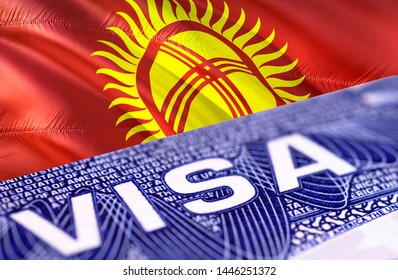 Kyrgyzstan Visa Document, with Kyrgyzstan flag in background, 3D rendering. Kyrgyzstan flag with Close up text VISA on USA visa stamp in passport.Visa passport stamp travel Kyrgyzstan business