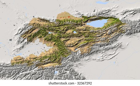 Kyrgyzstan,Kyrgyz,Kirgistan , shaded relief map. Colored according to vegetation, with major urban areas. Includes clip path for the state boundary.
