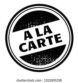 a la carte advertising sticker, label, stamp on white.