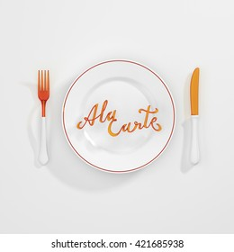a la carte Quote Typographical Background. minimal illustration with fork and knife 3D rendering 3D illustration