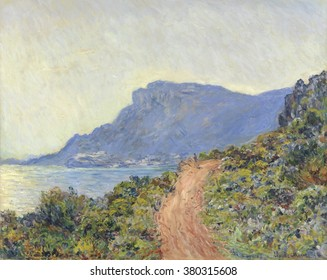 La Corniche near Monaco, Claude Monet, 1884. French painting, oil on canvas. Monet used an Impressionist light palette of blue, red and green to paint the cliff road on the French Riviera, between Nic