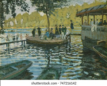 La Grenouillere, by Claude Monet, 1869, French impressionist painting, oil on canvas. On right is the fashionable middle class restaurant built on a barge, joined by planks to a small island known as
