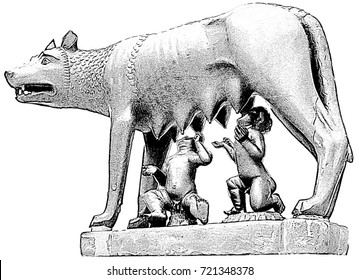 La Lupa Capitolina - the Capitoline Wolf with Romulus and Remus. The symbol of Rome, Italy. Monochrome digital drawing