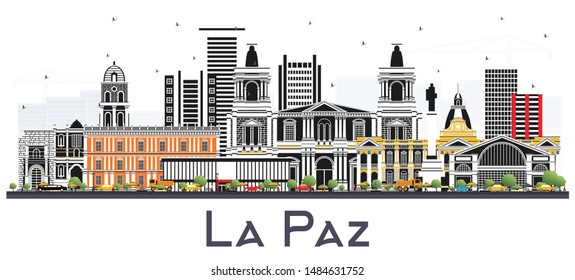 La Paz Bolivia City Skyline with Color Buildings Isolated on White. Business Travel and Tourism Concept with Historic Architecture. La Paz Cityscape with Landmarks.