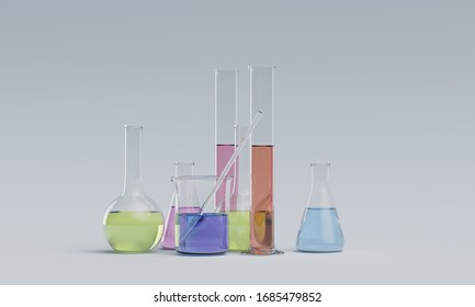 lab glassware instruments with chemical liquid. 3d rendering - illustration.