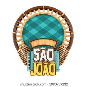 Label for Brazilian June party. Name Sao Joao with accordion and wooden background. The name São João means Saint John. 3D illustration.
