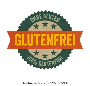 Label with the  German Translation of Gluten free -  Glutenfrei