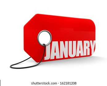 Label with January (clipping path included)