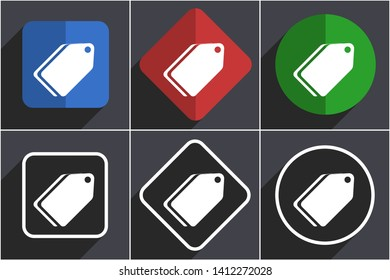 Label ticket set of flat design web icons in 6 options