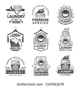 Labels or logos for laundry service. monochrome pictures. Laundry logo and household wash illustration