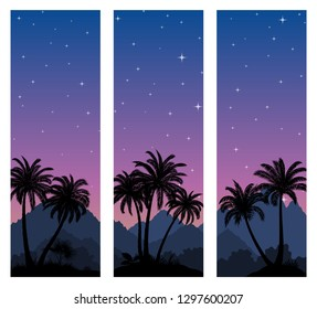 Labels with Tropical Landscape, Palms Trees and Exotic Plants Black Silhouettes on Background with Night Starry Sky.