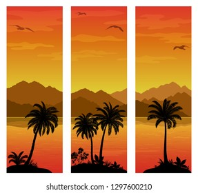 Labels with Tropical Landscape, Palms Trees and Exotic Plants Black Silhouettes on Background with Morning Sea, Mountains and Birds Gulls.