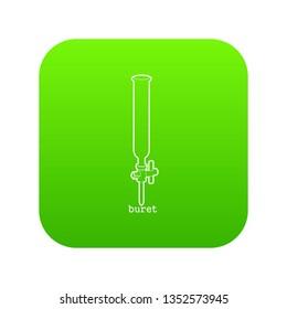 Laboratory buret icon green isolated on white background