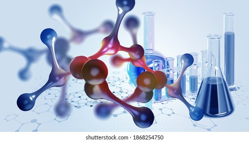 Laboratory, molecules, crystal lattice. Nanotech research in biochemistry, chemistry, biology, microbiology. 3d illustration of molecule and laboratory test tubes on medical background