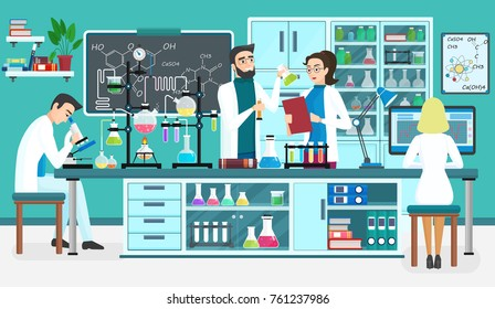Laboratory people assistants working in scientific medical biological lab. Chemical experiments. Cartoon  illustration.