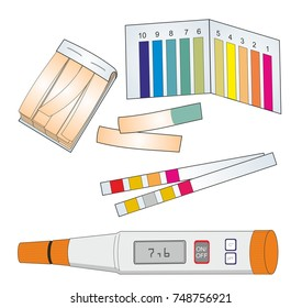 A laboratory set for measuring pH. pH of a solution can be determined by pH meter or pH indicator paper.