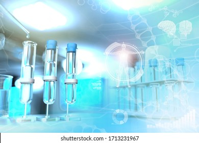 laboratory test-tubes in modern pollution college clinic - drinking water quality test for bacteria design background, medical 3D illustration