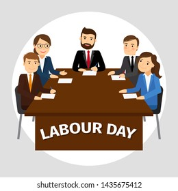 Labour Day poster, business team at work