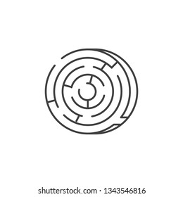 Labyrinth Icon. Labyrinth Thin Line Icon. Flat icon isolated on the white background.